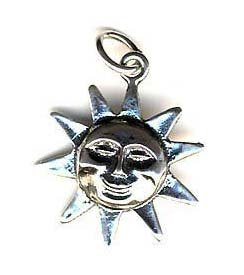 Sterling Silver Smiling Sun Charm Pendant