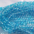 Vintage 2 Tone Aqua Fire Polish Czech Glass Beads 4mm