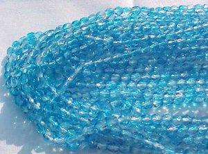 Vintage 2 Tone Aqua Fire Polish Czech Glass Beads 4mm