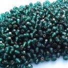 Vintage Green Copper Lined Fire Polish Czech Glass Beads 4mm