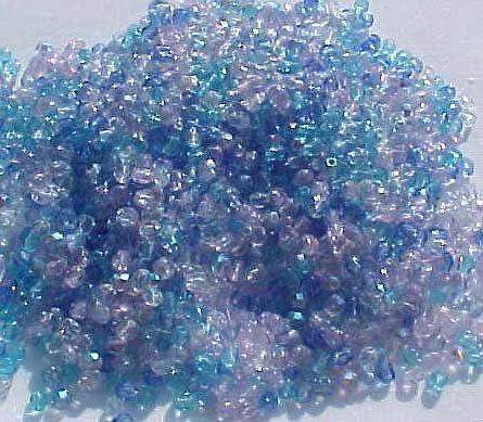 Vintage Ocean Blue Mix Fire Polish Czech Glass Bead 3mm