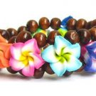 Hawaiian Style Stretch Wood Beads Polymer Rainbow Plumeria Flower Bracelet Child