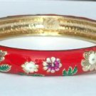 Hawaiian Style Red with Purple White Daisy Flowers Cloisonne Bracelet