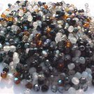 300 Vintage Black White Mix Fire Polish Polished Czech Glass Beads 3mm