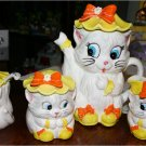 "CUTE Vintage KittenTea Set Lefton, ""Miss Priss""  Yellow and Orange, VERY RARE"
