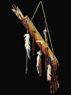 Native American Indian Beaded Deerskin Quiver and Arrows