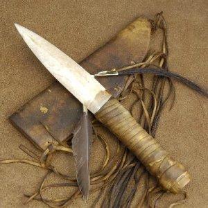 Native American Indian Buckskin Bone Dagger Knife Sheath