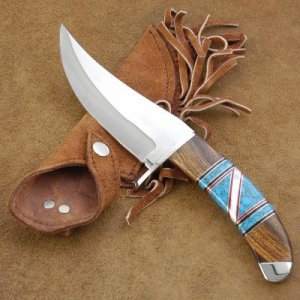 Native American Handmade Turquoise Stainless Camp Knife by Navajo Indian artist Yazzie