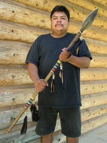 Native American Rawhide Beaded Warrior Lance by Navajo Indian artist Vasquez