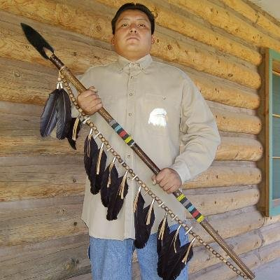 Native American Rawhide Beaded Lance with Shoulder Strap by Navajo Indian artist Clara Vasquez