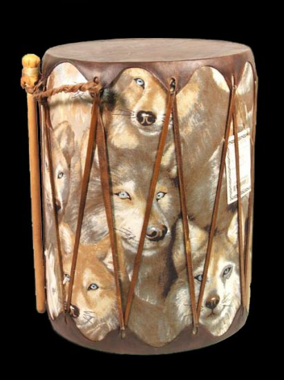 Native American Navajo Indian Wood Wolf Drum