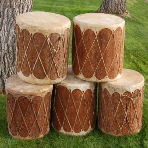 Native American Tarahumara Indian Wood Powwow Drum