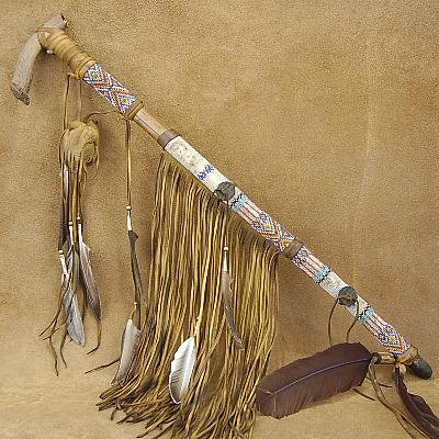 Native American Indian Beaded Antler Peace Pipe