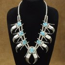 Native American Indian Silver Turquoise Bear Claw Squash Blossom Necklace