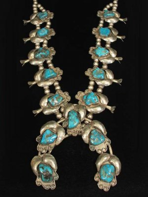 Vintage Old Pawn Native American Indian Silver Turquoise Squash Blossom Necklace