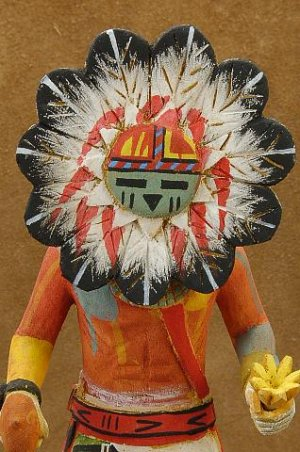 Native American Hopi Indian Carved Kachina Doll Sunfacce