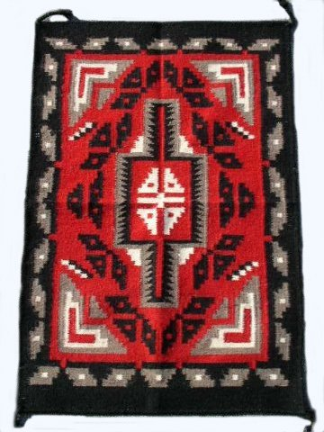 Southwestern Native American Design Handwoven Wool Rug