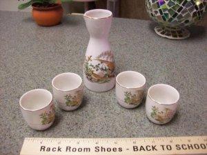 Painted Japanese sake Set