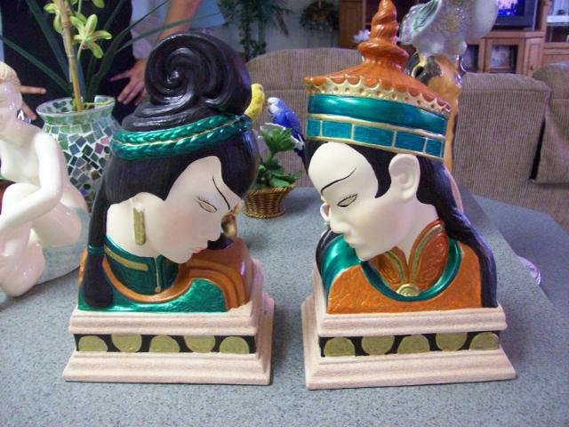 Handmade Asian Statue Bookends