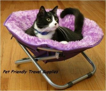 Flipo Comfort Suspension Bed Round Fuzzy Pet Moon Chair Adjustable Frame Small Dog Cat up to 20 lbs