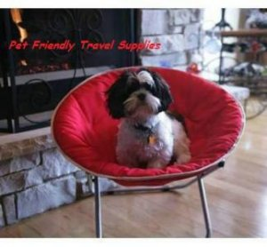 Flipo Comfort Suspension Bed Round Nylon Pet Moon Chair Adjustable Frame Large Dog Cat up to 40 lbs