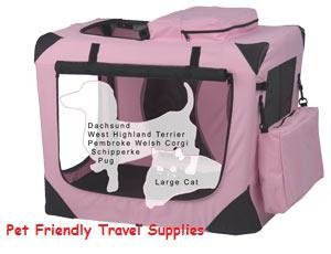 PET GEAR Deluxe Soft Dog Crate Kennel Cage Small~Pink holds pets up to 30 lbs.