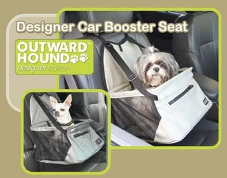 Outward Hound Designer Car Booster Dog Seat Gray Faux Leather Small holds pets up to 20 lbs.