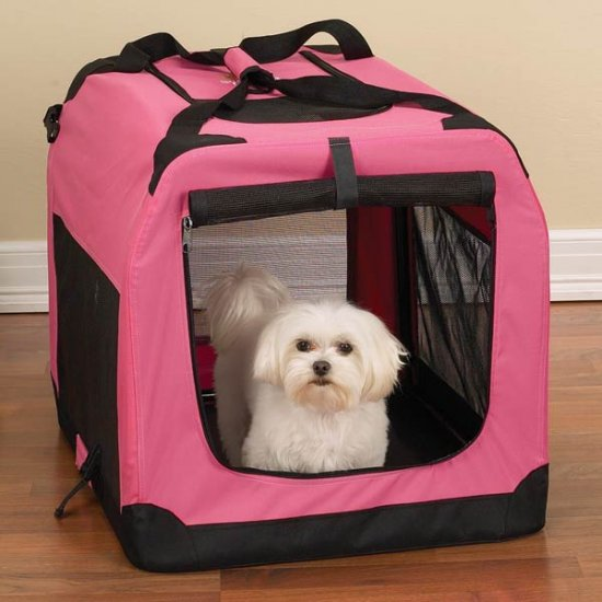 Small Guardian Gear Soft-Sided Collapsible Dog Crate Kennel PINK