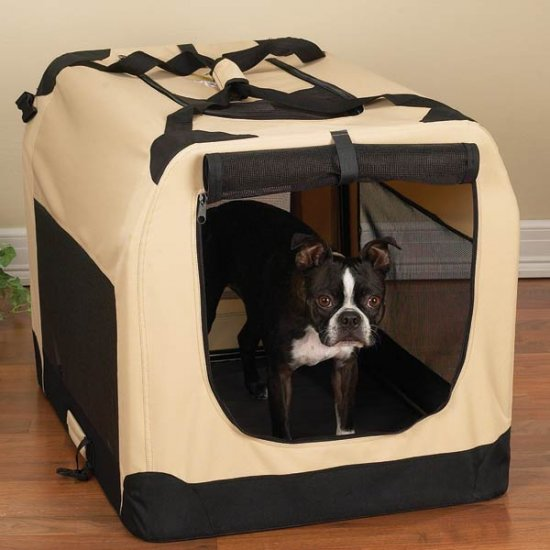 Medium Guardian Gear Soft-Sided Collapsible Dog Crate Kennel KHAKI