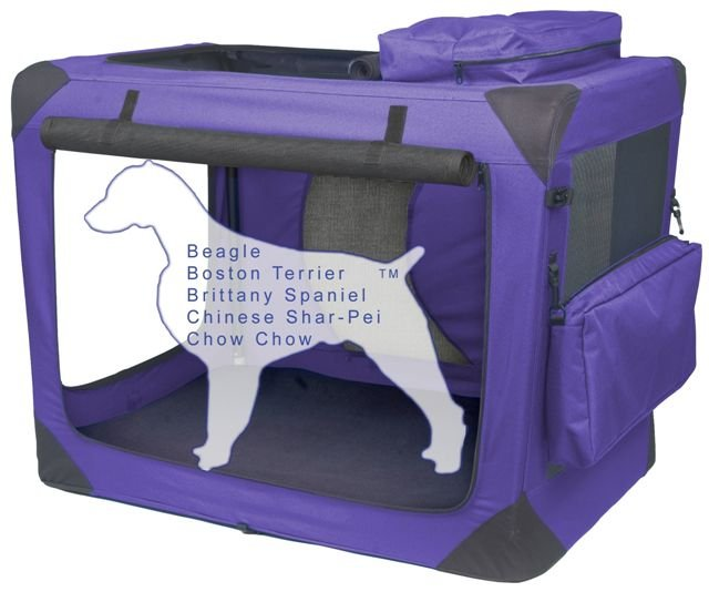 Intermediate Pet Gear Deluxe Soft Crate, Generation II - Lavender holds pets up to 50 lbs.
