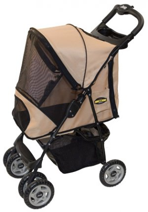 Jeep Wrangler Pet Dog Stroller Sandstone holds pets up to 30 lbs.