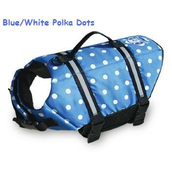 Paws Aboard Nautical or Pink or Blue Polka Dot Designer Dog Safety Life Jacket Vest Preserver Large