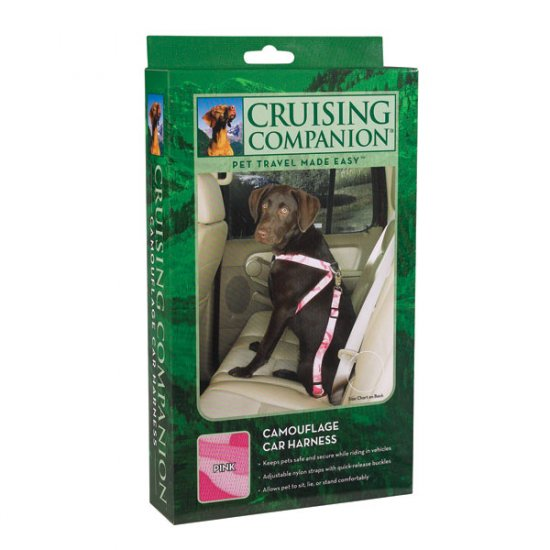 """Cruising Companion Camouflage Auto Car Safety Dog Harness Small Medium 12""""-28"""" Green or Pink"""