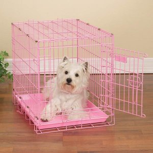 "ProSelect Fashioned Colored Wire Dog Crate Kennel Medium 30"" Blue or Pink"