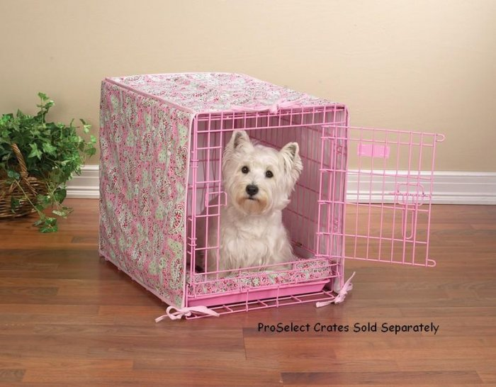 """2 pc crate cover and bed set matches Proselect Colored Wire Dog Crate Small 24"""" Blue or Pink"""