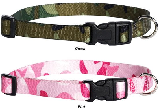 Guardian Gear Nylon Camo Dog Collar X-Small 6 - 10 in. necks Pink Green