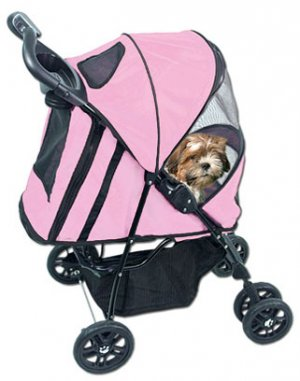 Pet Gear Happy Trails Pet Dog Stroller holds pets up to 30 lbs. Cobalt Blue Pink Ice