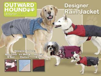 Outward Hound Dog Designer Rain Jacket - Foul Weather Gear - Large Designer Colors