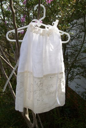Vintage Linens Infant Daygown Chic & Shabby White Ecru Ribbons Crochet