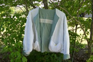 Chic & Shabby Vintage Chenille Jacket Reversible Mother of Pearl Buttons, Embroidery