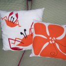 2 Hand Crafted Accent Pillows Sea Beach Cottage Chic & Shabby Original Applique