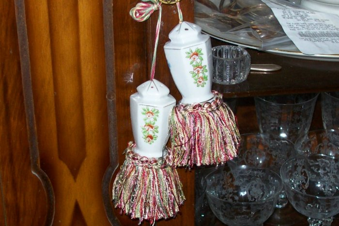 Vintage Salt Pepper Tassels Handmade JAPAN Unique Shabby Chic
