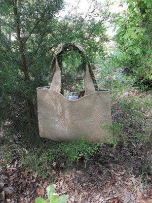 Shopping Bag Burlap Cotton Reversible Roses SHabby Chic Cottage Beach Lake House