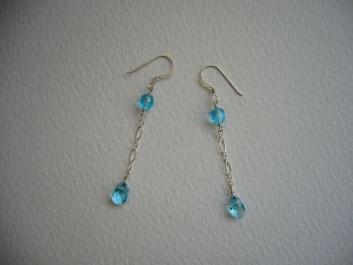 Light Blue Sterling Silver Chain Dangle Earrings