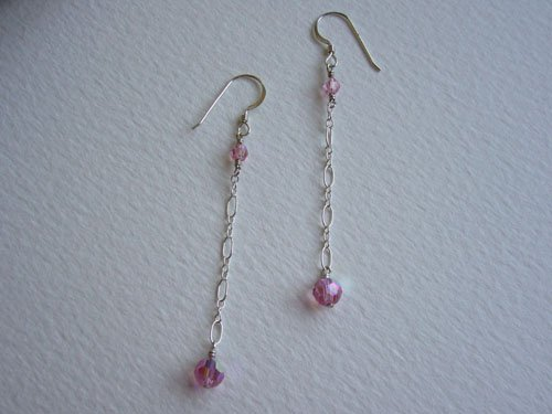 Swarovski Crystals & Sterling Silver Chain Earrings