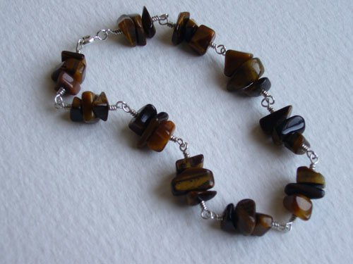 SOLD: Tiger Eye Bead & Sterling Silver Bracelet