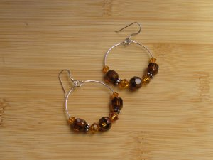 Honey & Amber Colored Beads on Medium Sized Stering Silver Hoops