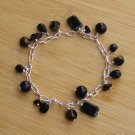 B022: Black & Silver Glass Bead Charm Bracelet