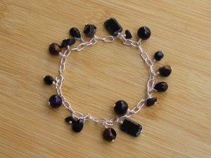 B022: Black & Silver Glass Bead Charm Bracelet