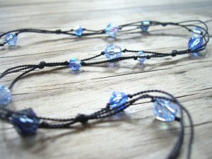 Black Silk & Blue Swarovski Glass Bead Necklace
